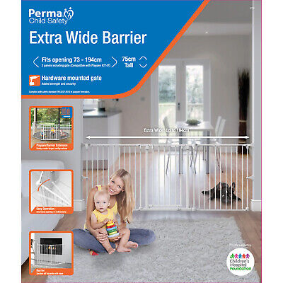 Perma Child Safety Extra Wide Barrier 73-194cm wide, 75cm tall 3 panels /1 gate