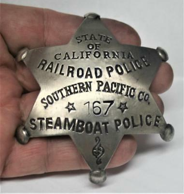 Reproduced Cal. RAILROAD / STEAMBOAT POLICE Badge <> So. Pacific <> 6 Pt Star