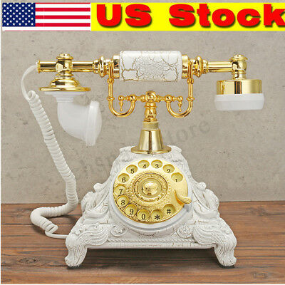 Antique Rotary Phone French Style Vintage Old Fashioned Telephone Princess White