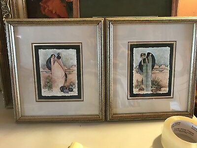 "a pair of GE.Mullan art prints,11 by 12.25"" each,Native American women,pottety"