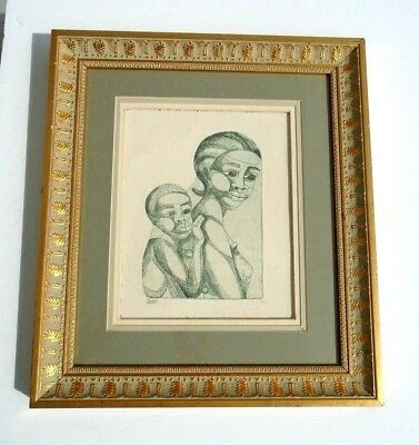 UNIQUE VINTAGE ETCHING African Mother & Child BEAUTIFUL MONOCHROMATIC ART Signed