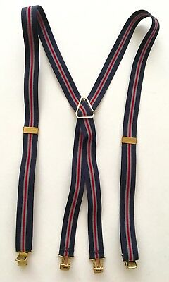 Vntg Hickok Suspenders with Brass Clips Navy Blue Grey Red fully extended 41""