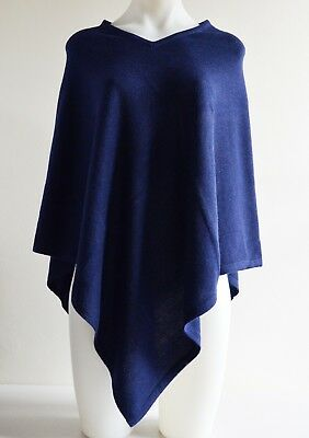Navy Blue Pashmina Poncho Cashmere Wool Cape Wrap Soft Warm Women Long Sleeve 4