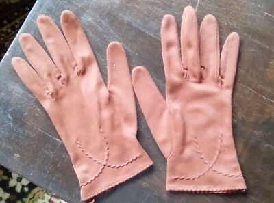 Pair of Vintage Ladies Gloves - Brown, Short, Fashion, Woman, Fabric
