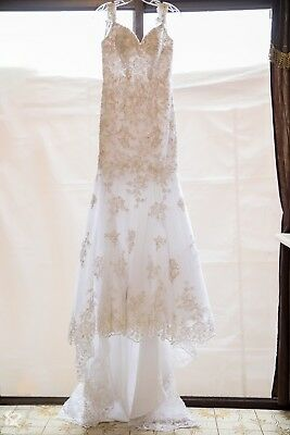 White embroidered wedding dress size 8