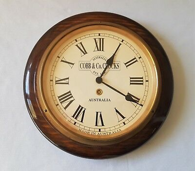 Vintage Cobb & Co Australia Wood And Brass Clock - Near Perfect Condition - Aa