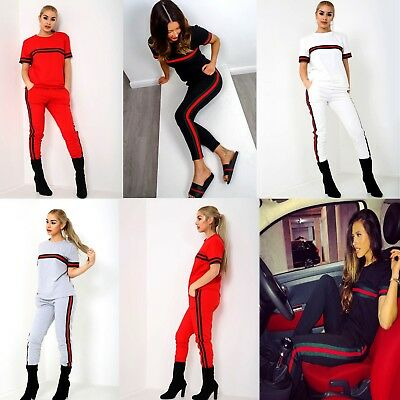 Womens Ladies Side Stripe Top & Bottom Co ord Set Loungewear Fashion Tracksuit