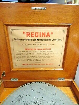 Antique Oak Regina Music Box Double Combs 36 Discs & Cherry Base Storage Cabinet