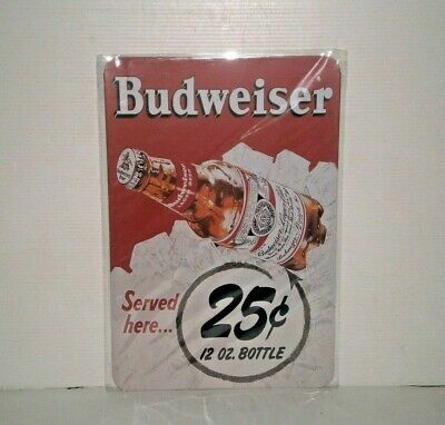 BMS1 Budweiser Metal Sign 30 cm H X 20cm W New