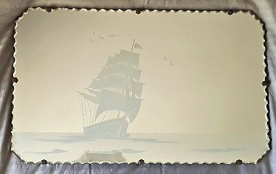 Stunning Vintage Art Deco Large Scalloped Edge Mirror - Etched Galleon - Ship