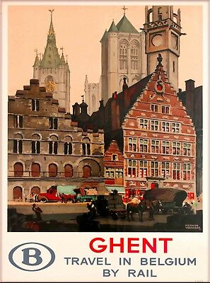 Ghent Travel in Belgium By Rail Vintage Travel Advertisement Art Poster Print