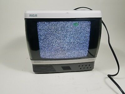 "RCA Colortrak Plus Spacesaver 9"" CRT Television TV FM Radio Combo Retro Gaming"