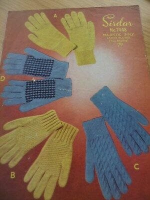 RARE VINTAGE 1950'S EMU 3 PLY KNITTING PATTERN LADIES PRETTY GLOVES x 4