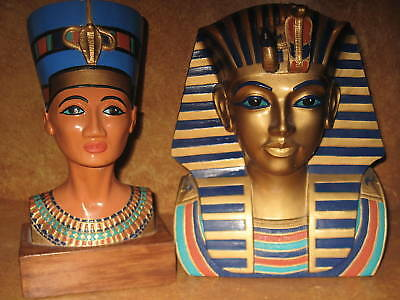 King Tut & Queen Nefertiti Egyptian Statue Set Ceramic Original Handpainted Art