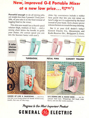 1956 GE Portable Mixer: Turquoise, Petal Pink, Canary Yellow Vintage Print Ad