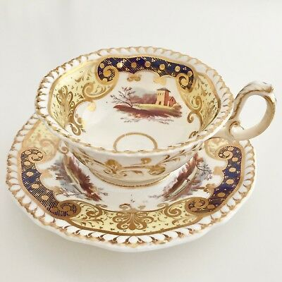 """H&R Daniel """"Second Gadroon"""" teacup with hand painted landscapes, ca 1830"""