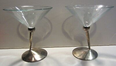 Vintage Classic Beefeater Gin Silverplate Stem Martini Glasses
