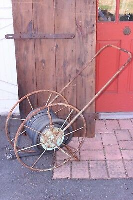 "Antique Garden Hose Reel Vintage Farm Implement 24"" Wheel USA Made Industrial"