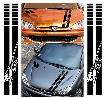 For PEUGEOT 206 - BONNET RACING STRIPES - CAR DECAL STICKERS ADHESIVE