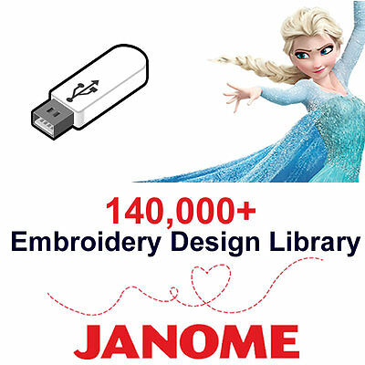 140,000+ Janome Embroidery Designs Library (JEF Format) Cards 16GB USB Drive