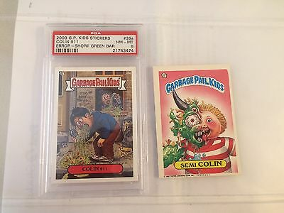 Garbage Pail Kids Semi Colin & Colin 911 ERROR Short Green Bar PSA 8 -MT