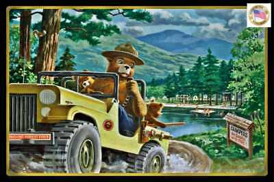 *smokey Bear Jeep Sign* Made In Usa U.s. Forest Service Cabin Rustic Lodge