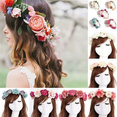 Women Girls Boho Flower Floral Hairband Headband Crown Party Bride Wedding JKHWC