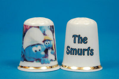 The Smurfs Small, Blue, Human-Like Creatures China Thimble B/105