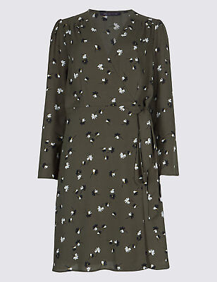 Marks and Spencer Collection Floral print Long Sleeve Wrap Dress Size 22 BNWT