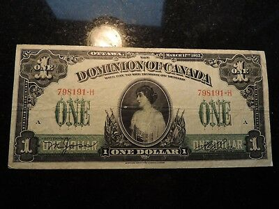 1917 DOMINION OF CANADA $ 1 ONE DOLLAR BOVILLE DC-23a-i 798191-H