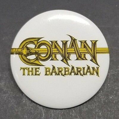 Universal Studios White Conan The Barbarian Movie Promo Pin back Button Pin