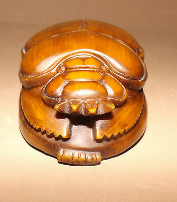 "EGYPTIAN SCARAB Statue or Paperweight  Resin Compound  4"" X 2.75"" w/Tags ALASEEL"