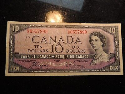 1954 BANK OF CANADA $10 TEN DOLLARS BC-32a E/D 6557899 COYNE TOWERS DEVILS FACE