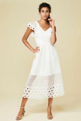 670bcc54d17 BNWT New NEXT White Broderei Anglais Lace A-Symmetric Midi Dress 10 Petite  £85