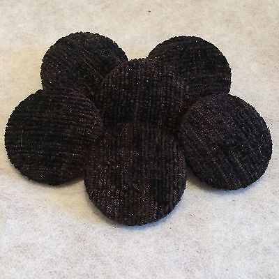 Black Chenille Fabric Buttons, 16mm, 20mm, 25mm, 31mm, Small, Medium & Large