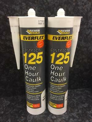 EVERBUILD 2 x White Decorators 125 One Hour Caulk Quick Drying Paintable 300ml