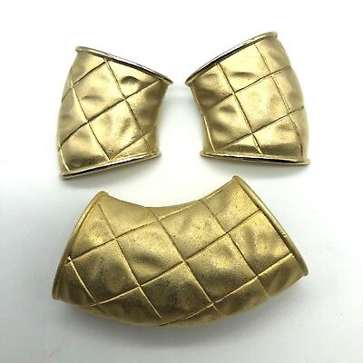 Scarf Tube and Earring Set Pierced Squares on Gold Tone Dimpled Metal