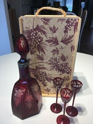 Vintage Cranberry Glass Decanter and Tall Glass Set