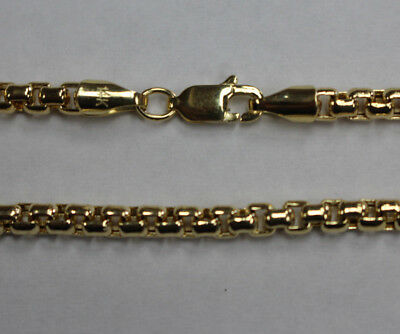 "14Kt 14K Yellow Solid Gold 18"" 20"" 24"" 3.4mm Round Box Necklace Chain Lobster"