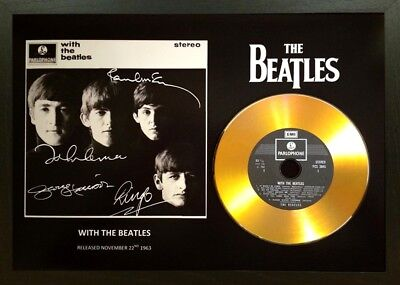 The Beatles 'with The Beatles' Signed Photo Gold Cd Disc Collectable Memorabilia