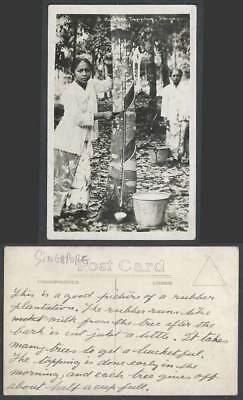 Singapore Old Real Photo Postcard Malay Rubber Tapper Tapping Trees Buckets Girl