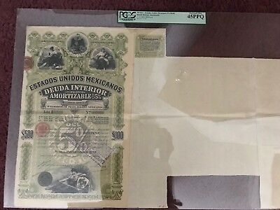 "1899 MEXICO ""GREEN LADY"" 5% Bond With Coupons PCGS 45PPQ"