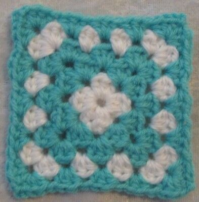Miniature DOLLHOUSE BABY Crochet Mini BLANKET, Afghan, Quilt #13 Turquoise