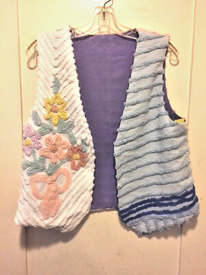Lovely Handmade Vintage Chenille Lined Vest Floral Lavender/Blue/Pink New Small