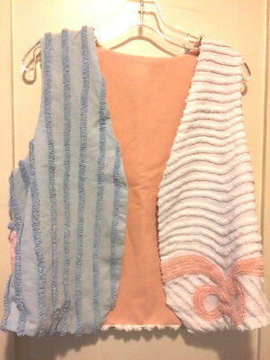 Lovely Handmade Vintage Chenille Lined Vest Floral Blue/Peach/White New Small