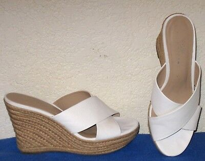 d159ce9fd4c Lord And Taylor White Leather Crisscross Espadrille Wedge Sandals Shoes Sz  7.5