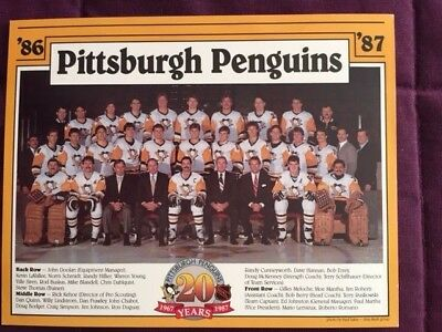 1986-7 Pittsburgh Penuins Vintage Team Issued 8.5x11 Team Photo Lemieux