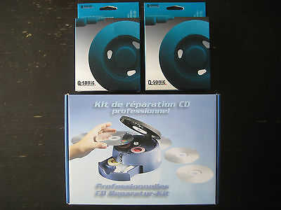 Kit Réparation CD DVD Professionnel Polir Disc Repair III PE-2944 + 2945 Q-Sonic