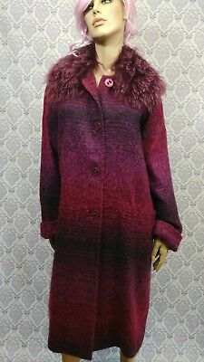 VTG Avoca Long Coat Ireland Womens 12 EUR 42 Purple Poly Mohair Lightweight