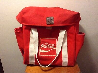 "USA Made 1980's Diamond Brand Red Coca Cola Canvas Bag 15"" X 15"" X 8"""